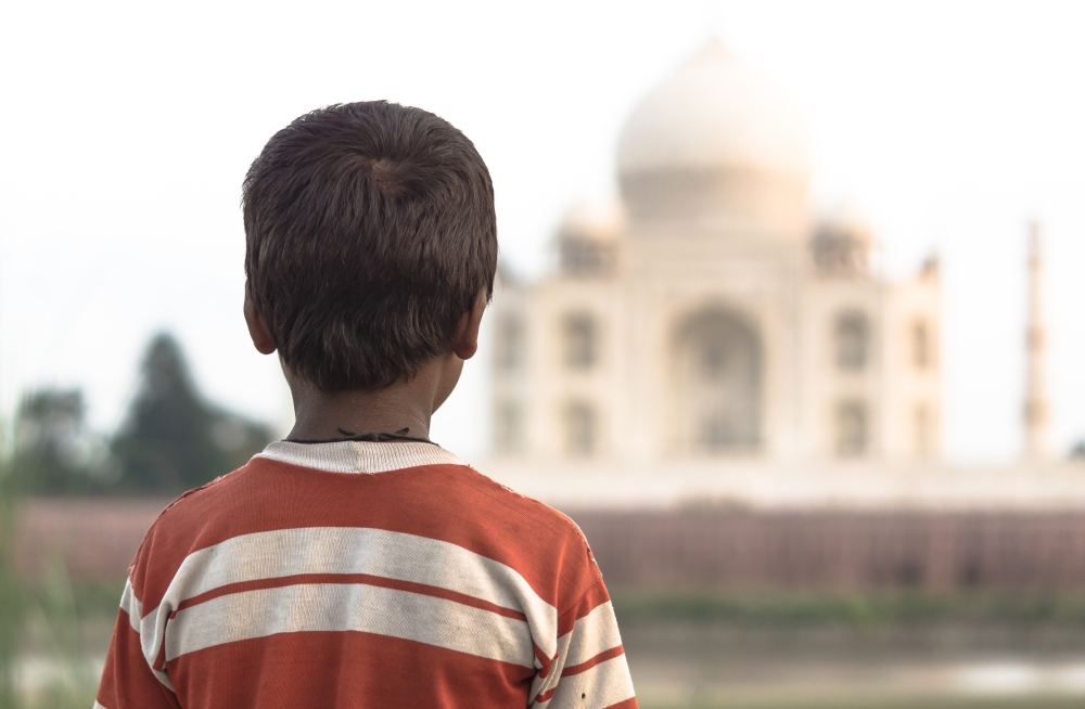 A young cowherd stares at the Taj Mahal, lost temporarily in thought.