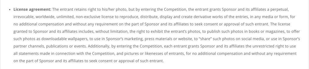 Terms and conditions excerpt from a recently concluded Africa wide photo competition