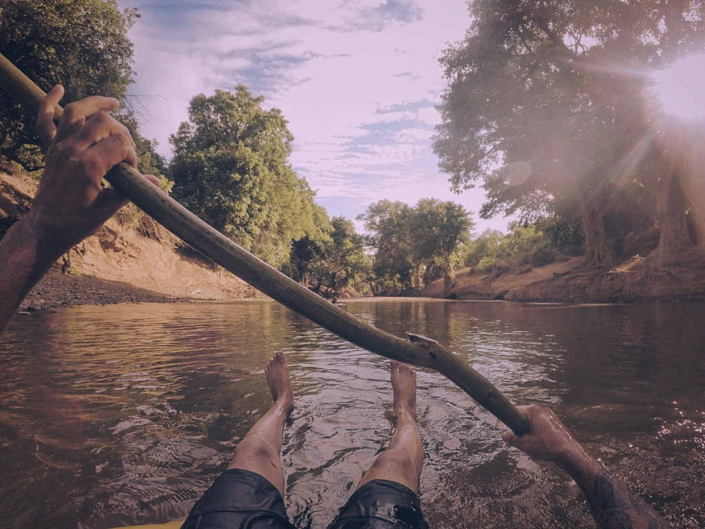 Floating on a tyre tube on the Ewaso Nyiro in Kenya